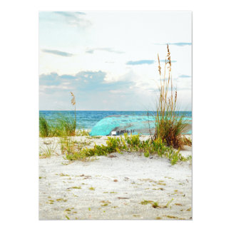Serene Boat on Beach with Sea Oats Announcement