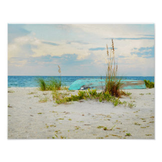 Serene Boat on Beach with Sea Oats Print