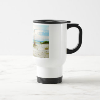Serene Boat on Beach with Sea Oats Stainless Steel Travel Mug