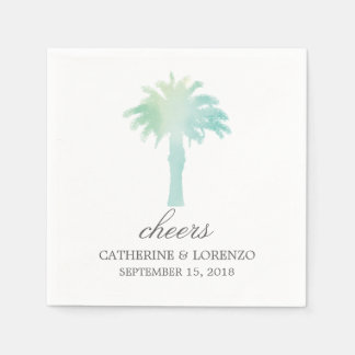 Serene Palm Tree Watercolor   Wedding Disposable Napkins