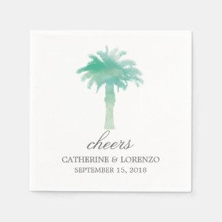 Serene Palm Tree Watercolor   Wedding Paper Serviettes