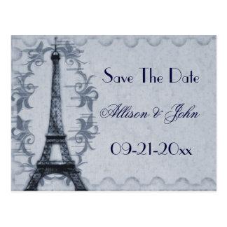 Serene Paris Grunge Save The Date Postcard