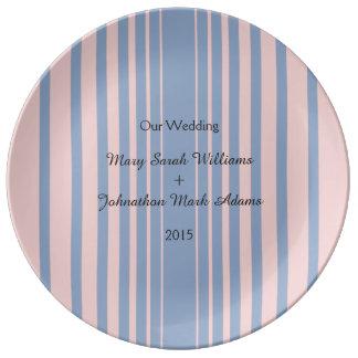 Serenity and Rose Quartz Wedding Table Items Porcelain Plates