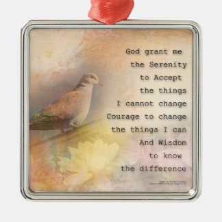 Serenity Prayer Dove and Flowers Christmas Ornament