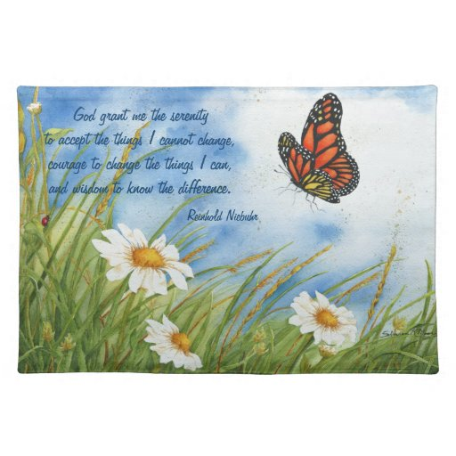 Serenity Prayer - Monarch Butterfly - Place Mat