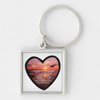 Serenity Prayer Silver-Colored Square Key Ring