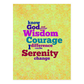 Serenity Prayer wordle postcard