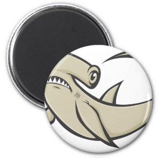 Serious Hammerhead Shark 6 Cm Round Magnet