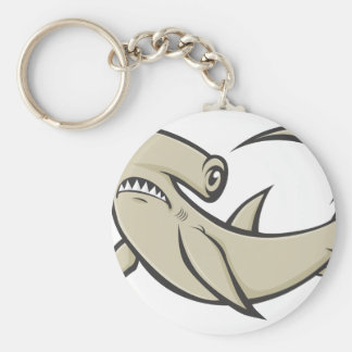 Serious Hammerhead Shark Basic Round Button Key Ring