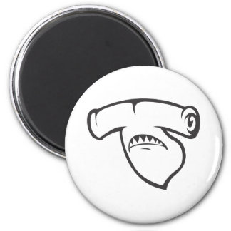 Serious Hammerhead Shark Fish in Black 6 Cm Round Magnet