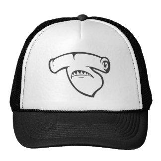 Serious Hammerhead Shark Fish in Black Cap