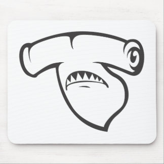Serious Hammerhead Shark Fish in Black Mouse Pad