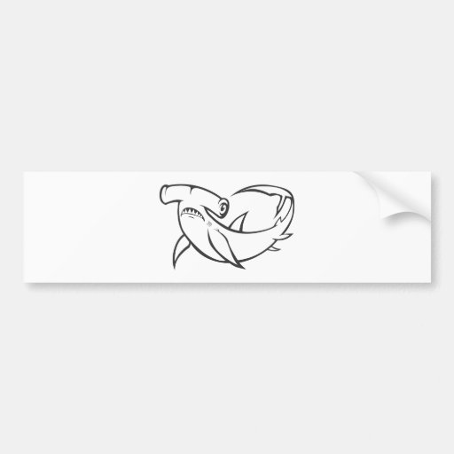 Serious Hammerhead Shark in Black and White Bumper Stickers
