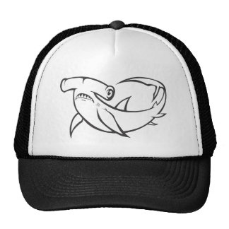 Serious Hammerhead Shark in Black and White Cap