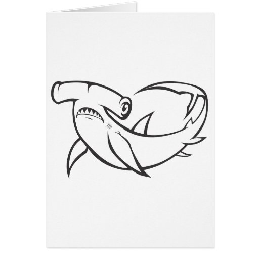Serious Hammerhead Shark in Black and White Greeting Cards