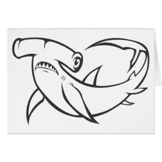 Serious Hammerhead Shark in Black and White Card