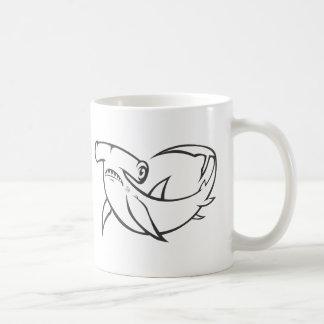 Serious Hammerhead Shark in Black and White Coffee Mug
