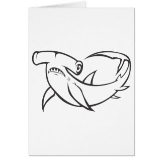 Serious Hammerhead Shark in Black and White Greeting Card
