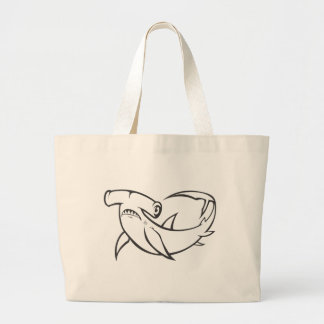 Serious Hammerhead Shark in Black and White Large Tote Bag
