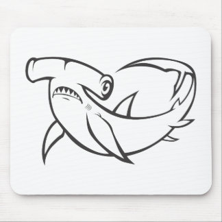 Serious Hammerhead Shark in Black and White Mouse Pad