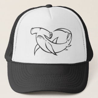 Serious Hammerhead Shark in Black and White Trucker Hat