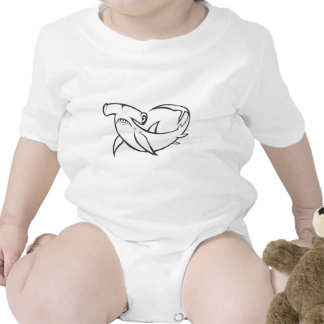 Serious Hammerhead Shark in Black and White Tees