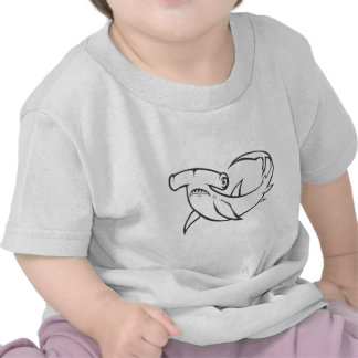 Serious Hammerhead Shark in Black and White Tee Shirts