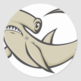 Serious Hammerhead Shark Round Sticker