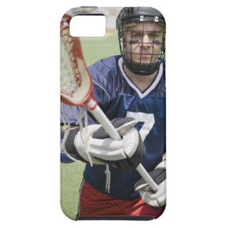 Serious lacrosse player holding crosse iPhone 5 covers