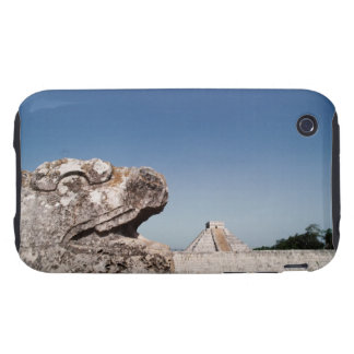 Serpent statue by pyramid in Mexico iPhone 3 Tough Cover