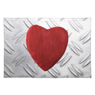 Serrated sheet background with heart placemat