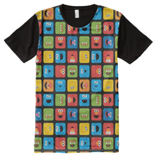 Sesame Street Cubed Faces Pattern All-Over Print T-Shirt