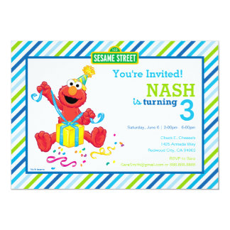 Sesame Street | Elmo - Boys Birthday Striped Invit Card