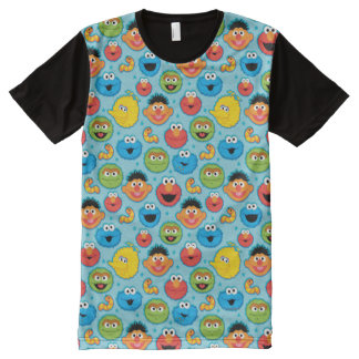 Sesame Street Faces Pattern on Blue All-Over Print T-Shirt