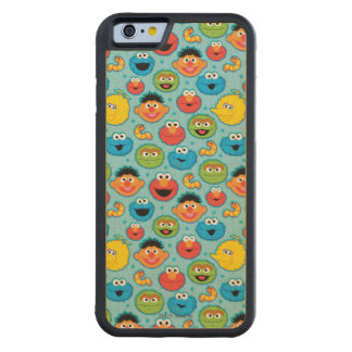 Sesame Street Faces Pattern on Blue Carved Maple iPhone 6 Bumper Case