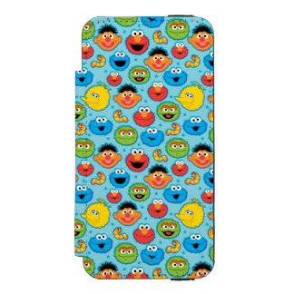 Sesame Street Faces Pattern on Blue Incipio Watson™ iPhone 5 Wallet Case