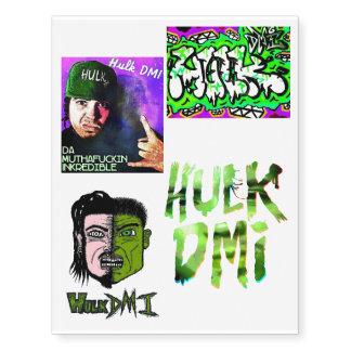 Set Of 4 Hulk DMI Temporary Tattoos