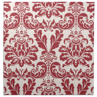 Set of 4 napkins...red and white damask napkin