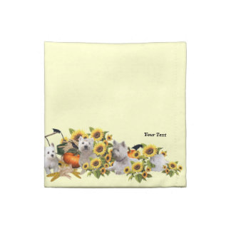 Set of Four Westie Fall Harvest Cocktail Napkins