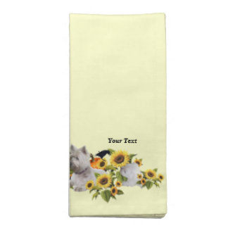 Set of Four Westie Fall Harvest Dinner Napkins