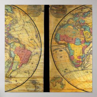 Set of Rare Hemisphere Wall Maps c. 1858 Poster