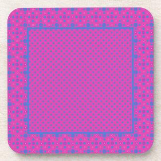 Set of Stylish Square Coasters: Magenta, Blue Dots Coaster