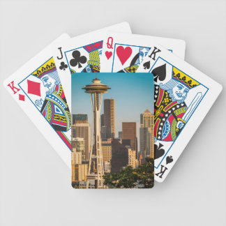Setting Sunlight On The Space Needle And Seattle Bicycle Playing Cards