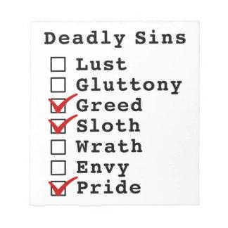 Seven Deadly Sins Checklist 0011001 Memo Pads