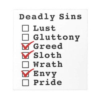 Seven Deadly Sins Checklist (0011010) Scratch Pads