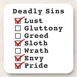 Seven Deadly Sins Checklist 1001011 Coaster