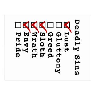 Seven Deadly Sins Checklist (1001110) Post Cards