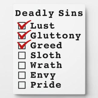 Seven Deadly Sins Checklist (1110000) Photo Plaque