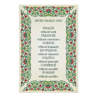 Seven Deadly Sins  Wealth without work Pleasure Poster