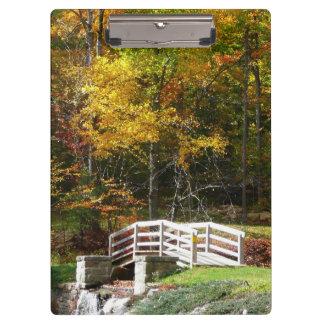 Seven Springs Fall Bridge I Autumn Landscape Photo Clipboards